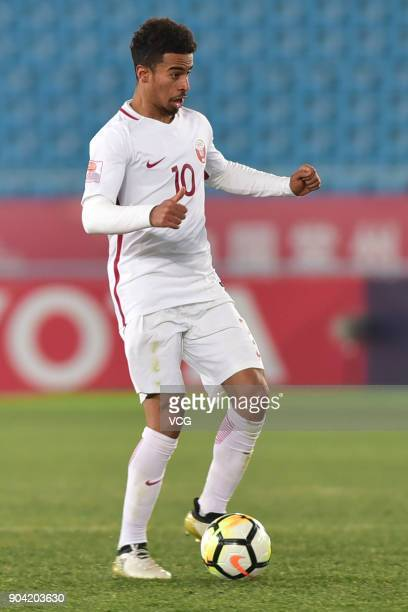 Akram Afif of Qatar during the AFC U23 Championship Group A match between Oman and Qatar at Changzhou Olympic Sports Center on January 12 2018 in...