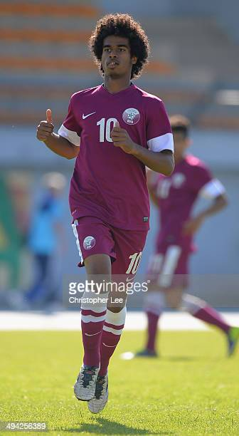 Akram Afif of Qatar in action during the Toulon Tournament Group B match between Colombia and Qatar at the Stade De Lattre on May 28, 2014 in...