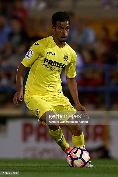 Akram Hassan Afif of Villarreal runs with the ball during the friendly match between Villarreal CF and CD Hospitalet at Ciudad Deportiva of Miralcamp...