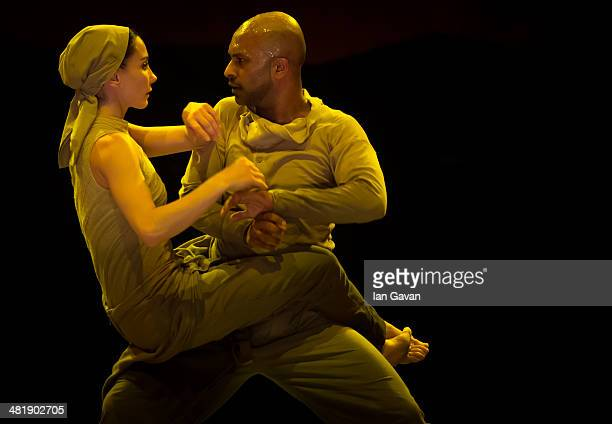 Akram Khan and Tamara Rojo perform on stage during a dress rehearsal of the English National Ballet's Lest We Forget at the Barbican Centre on April...