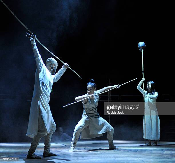 Akram Khan Christiine Joy Ritter and ChingYing Chien in the Akram Khan Company's production of Akram Khan's Until The Lions at the Roundhouse in...