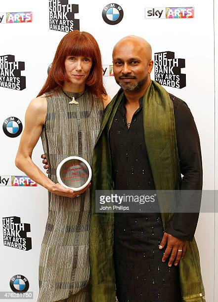 Akram Khan with Ballet dancer Sylvie Guillem winner of the Outstanding Achievement award in the press room at the South Bank Sky Arts Awards at The...
