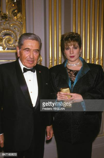 Akram Ojjeh, Syrian-born Saudi businessman, with his daughter attending the 75th anniversary of American Hospital of Paris on January 21, 1987 in...