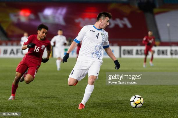 Akramjon Komilov of Uzbekistan in action during the AFC U23 Championship China 2018 Group A match between Qatar and Uzbekistan at Changzhou Olympic...
