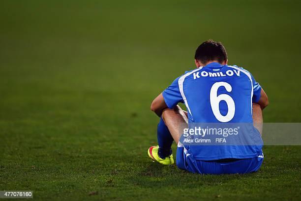 Akramjon Komilov of Uzbekistan reacts after the FIFA U20 World Cup New Zealand 2015 Quarter Final match between Senegal and Uzbekistan at Wellington...