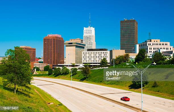 akron downtown skyline - ohio stock photos and pictures