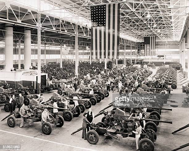 Antiaircraft Bofors 40mm gun assembly at the Firestone Tire and Robber Co plant in Akron OH