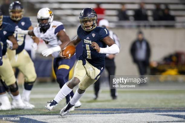 Akron Zips quarterback Kato Nelson runs the football during the fourth quarter of the college football game between the Kent State Golden Flashes and...
