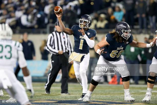 Akron Zips quarterback Kato Nelson throws a pass during the first quarter of the college football game between the Ohio Bobcats and Akron Zips on...