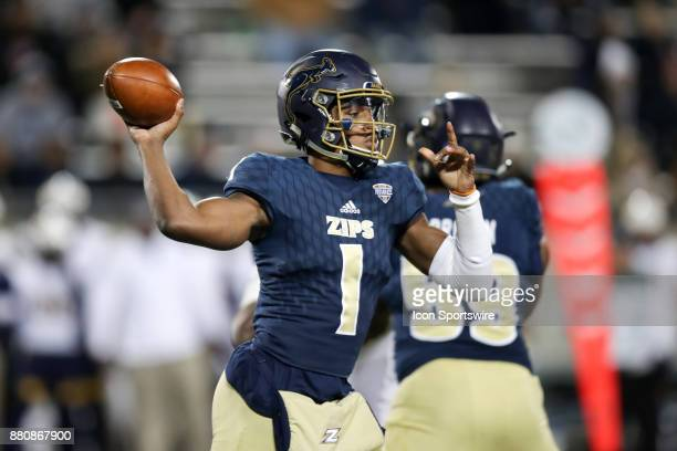 Akron Zips quarterback Kato Nelson throws a pass during the first quarter of the college football game between the Kent State Golden Flashes and the...