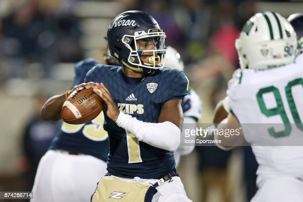 Akron Zips quarterback Kato Nelson throws a pass during the second quarter of the college football game between the Ohio Bobcats and Akron Zips on...