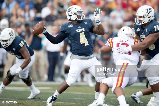 Akron Zips quarterback Thomas Woodson throws a pass during the first quarter of the college football game between the Iowa State Cyclones and Akron...