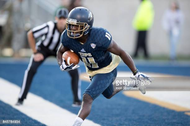 Akron Zips wide receiver AJ Coney makes a touchdown catch during the first quarter of the college football game between the ArkansasPine Bluff Golden...