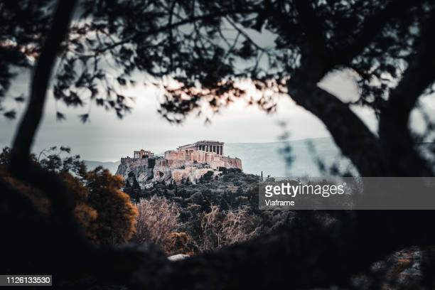 akropolis in greece photographed from distance - amphitheatre stock pictures, royalty-free photos & images