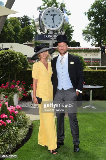 Aksel Lund Svindal and guest on day 1 of Royal Ascot at Ascot Racecourse on June 20 2017 in Ascot England