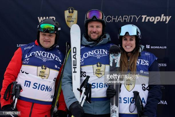 Aksel Lund Svindal and Nathalie Benko of Team Signa during the Audi FIS alpine ski world cup Kitz Charity Trophy on January 25 2020 in Kitzbuehel...