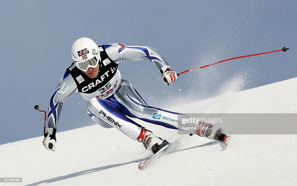 Aksel Lund Svindal from Norway wins the Overall FIS Skiing World Cup Super-G - Men's Super-G on March 16, 2006 in Aare, Sweden.