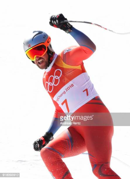 Aksel Lund Svindal of Norway celebrates a run during the Men's Downhill on day six of the PyeongChang 2018 Winter Olympic Games at Jeongseon Alpine...