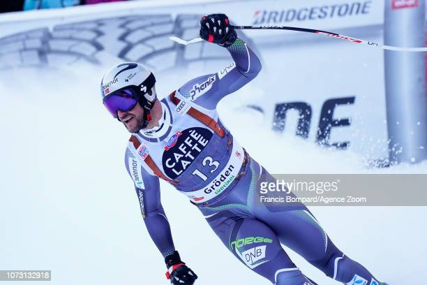 Aksel Lund Svindal of Norway celebrates during the Audi FIS Alpine Ski World Cup Men's Super G on December 14 2018 in Val Gardena Italy