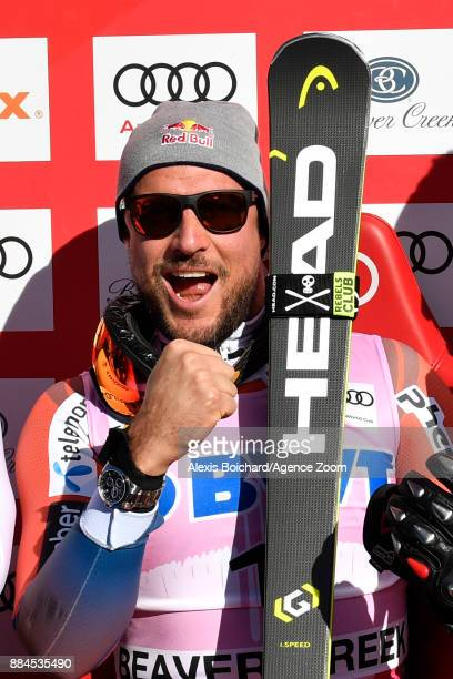 Aksel Lund Svindal of Norway celebrates during the Audi FIS Alpine Ski World Cup Men's Downhill on December 2 2017 in Beaver Creek Colorado