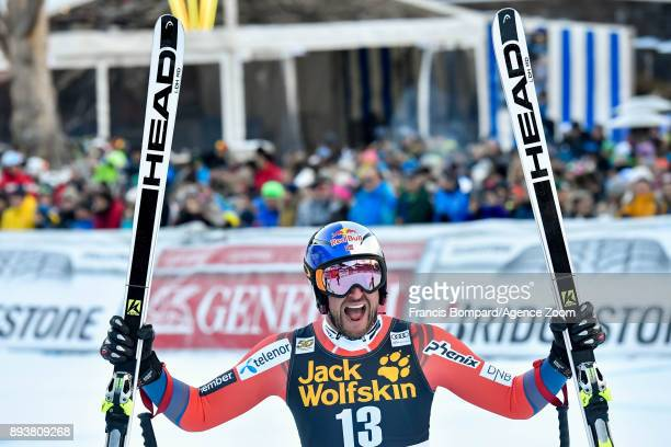 Aksel Lund Svindal of Norway celebrates during the Audi FIS Alpine Ski World Cup Men's Downhill on December 16 2017 in Val Gardena Italy