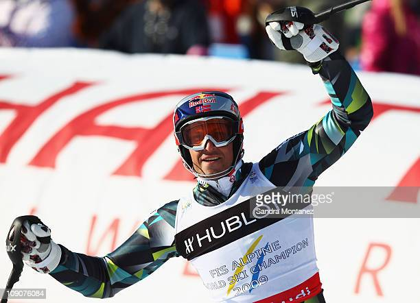 Aksel Lund Svindal of Norway celebrates in the finish area after finishing the Slalom segment and winning the Men's Super Combined during the Alpine...