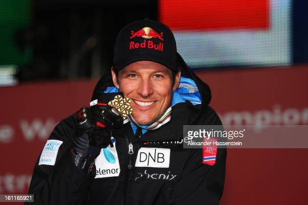 Aksel Lund Svindal of Norway celebrates with his gold medal at the medal ceremony after winning the Men's Downhill during the Alpine FIS Ski World...
