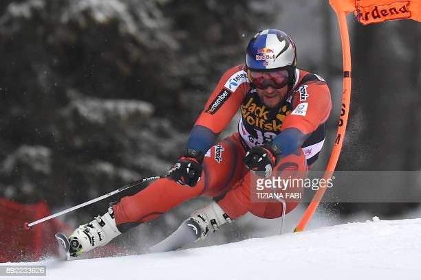 Aksel Lund Svindal of Norway competes during a training for the FIS Alpine World Cup Men Downhill on December 14 2017 in Val Gardena Italian Alps /...