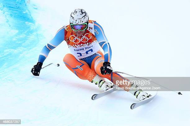 Aksel Lund Svindal of Norway competes during the Alpine Skiing Men's Downhill at the Sochi 2014 Winter Olympic Games at Rosa Khutor Alpine Centre on...