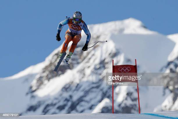 Aksel Lund Svindal of Norway competes during the Alpine Skiing Men's Super Combined Downhill on day 7 of the Sochi 2014 Winter Olympics at Rosa...