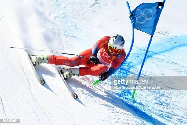 Aksel Lund Svindal of Norway competes during the Alpine Skiing Men's SuperG at Jeongseon Alpine Centre on February 16 2018 in Pyeongchanggun South...