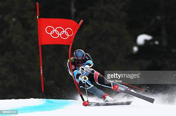 Aksel Lund Svindal of Norway competes during the Alpine Skiing Men's Giant Slalom on day 12 of the Vancouver 2010 Winter Olympics at Whistler...