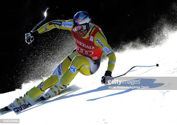 Aksel Lund Svindal of Norway competes during the Audi FIS Alpine Ski World Cup Men's SuperG on March 3, 2013 in Kvitfjell, Norway.