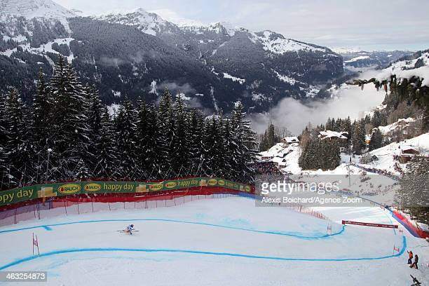 Aksel Lund Svindal of Norway competes during the Audi FIS Alpine Ski World Cup Men's Super Combined on January 17 2014 in Wengen Switzerland