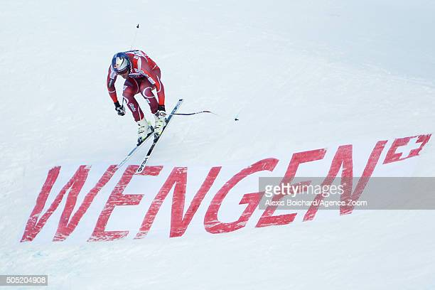 Aksel Lund Svindal of Norway competes during the Audi FIS Alpine Ski World Cup Men's Downhill on January 16 2016 in Wengen Switzerland