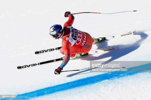 Aksel Lund Svindal of Norway competes during the Audi FIS Alpine Ski World Cup Men's Downhill on January 13 2018 in Wengen Switzerland