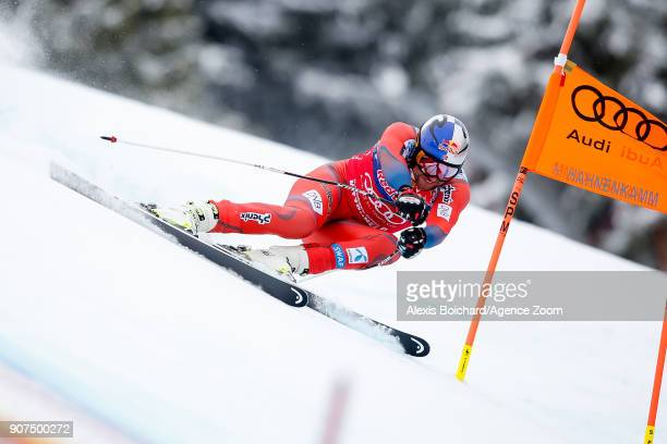 Aksel Lund Svindal of Norway competes during the Audi FIS Alpine Ski World Cup Men's Downhill on January 20 2018 in Kitzbuehel Austria