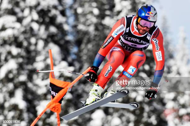 Aksel Lund Svindal of Norway competes during the Audi FIS Alpine Ski World Cup Men's Downhill on March 10 2018 in Kvitfjell Norway