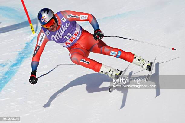 Aksel Lund Svindal of Norway competes during the Audi FIS Alpine Ski World Cup Finals Men's and Women's Super G on March 15 2018 in Are Sweden