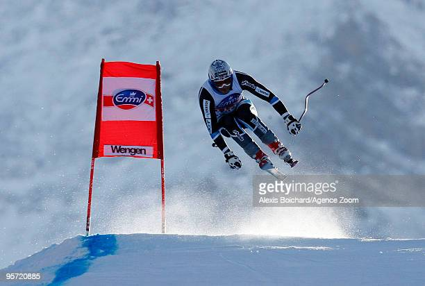 Aksel Lund Svindal of Norway competes during the Audi FIS Alpine Ski World Cup Men's first Downhill training on January 12 2010 in Wengen Switzerland