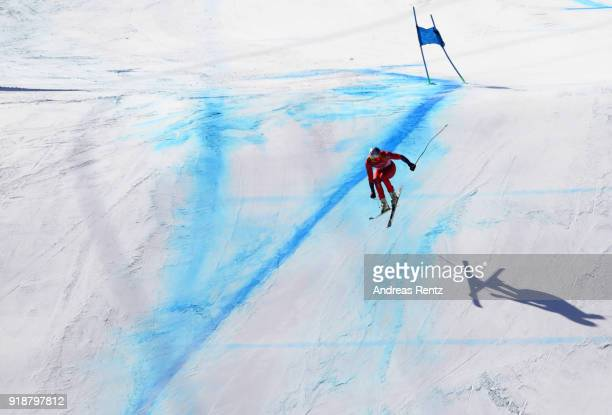 Aksel Lund Svindal of Norway competes during the Men's SuperG on day seven of the PyeongChang 2018 Winter Olympic Games at Jeongseon Alpine Centre on...