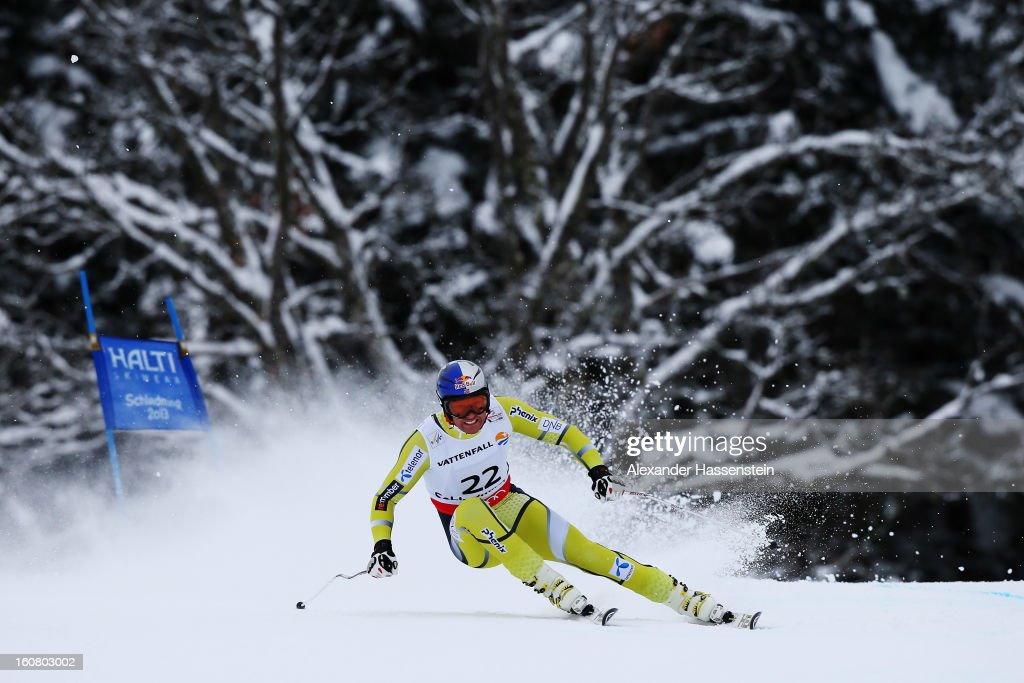 Aksel Lund Svindal of Norway competes on his way to finishing third in the Men's Super G event during the Alpine FIS Ski World Championships on February 6, 2013 in Schladming, Austria.