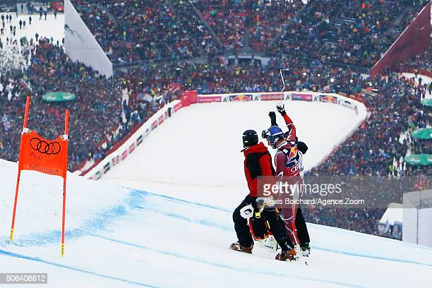 Aksel Lund Svindal of Norway crashes out during the Audi FIS Alpine Ski World Cup Men's Downhill on January 23 2016 in Kitzbuehel Austria