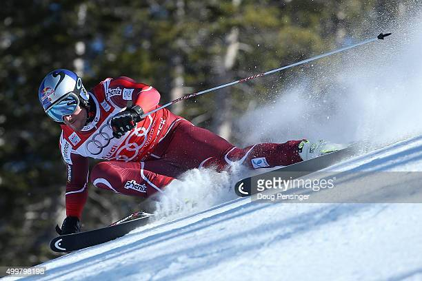 Aksel Lund Svindal of Norway descends the course during downhill training for the Audi FIS Ski World Cup on the Birds of Prey on December 3 2015 in...