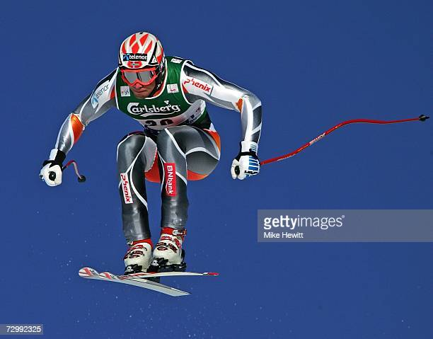 Aksel Lund Svindal of Norway flies over the Hundschopf jump during the Men's Audi FIS Ski World Cup Downhill race on January 13 2007 in Wengen...
