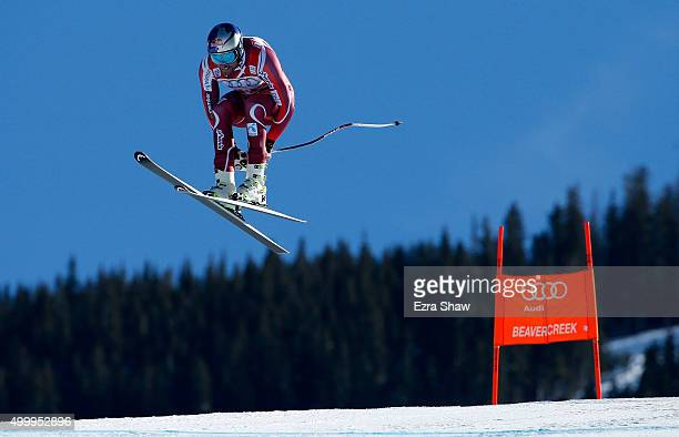 Aksel Lund Svindal of Norway goes over the Red Tail jump during the Audi FIS Ski World Cup downhill race on the Birds of Prey on December 4 2015 in...