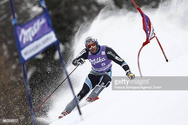 Aksel Lund Svindal of Norway in action during the Audi FIS Alpine Ski World Cup Men's Giant Slalom on January 29, 2010 in Kranjska Gora, Slovenia.
