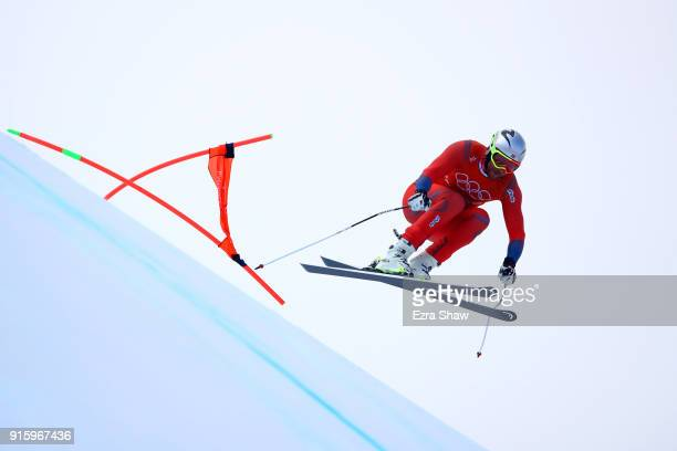 Aksel Lund Svindal of Norway makes a run during the Men's Downhill Alpine Skiing training at Jeongseon Alpine Centre on February 9 2018 in...