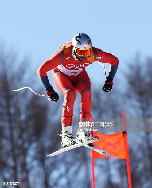 Aksel Lund Svindal of Norway on his way to winning the Men's Downhill at Jeongseon Alpine Centre on February 15, 2018 in Pyeongchang-gun, South Korea.