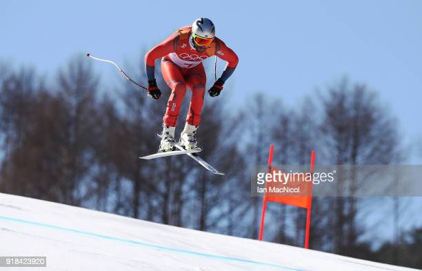 Aksel Lund Svindal of Norway on his way to winning the Men's Downhill at Jeongseon Alpine Centre on February 15 2018 in Pyeongchanggun South Korea